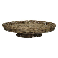 PAMPA - tray on stand - willow - grey wash - M - DIA 38 x H 11cm
