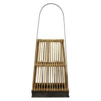 PUQI - lanterne - bambou/contreplaqué/métal - naturel - M - 25x25xh60 cm