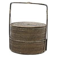 FU'AN - panier ronde avec poignée - rotin/bambou - naturel - Ø42xh56 cm