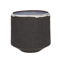 TENDO - pot de fleurs - faïence - fumé - L - Ø14,5xh13,5