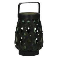 MIYAKO - lanterne - bambou - noir/ vert - S - 12,5x12,5x18cm