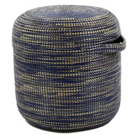 TERRA NOVA - TERRA NOVA - tabouret - jonc de mer/pvc/métal - naturel/bleu - Ø42xh42 cm - seagrass / seagrass - Ø42xh42 cm - bleu
