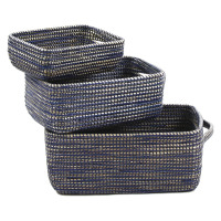 TERRA NOVA - set de 3 paniers - jonc de mer/pvc - naturel/bleu - L:40x30xh20 cm  M:35x25xh15 cm S:30