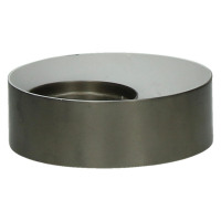 GHJORNU - candle holder - metal - pewter/white - Ø15xh5 cm