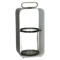 GHJORNU - lanterne - métal - étain/blanc - M - 15x12xh30 cm