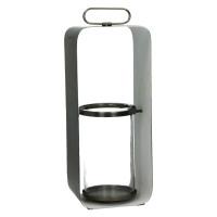 GHJORNU - lanterne - métal - étain/blanc - L - 15x12xh38 cm