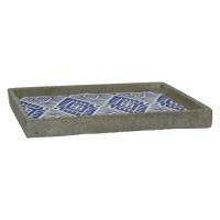 CHEYENNE - plateau - céramique - bleu - 30x30xh3 cm