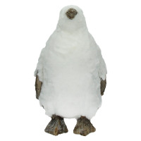 EXQUIS'MO - penguin - fur/wood - white - M - 20x20xh35 cm