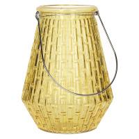 GABY - Lanterne - verre - Ambre - poignée bambou - Ø 17 x 23 cm