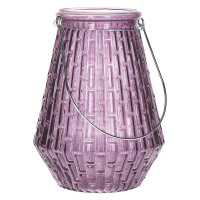 GABY - Lanterne - verre - Pourpre - poignée bambou - Ø 17 x 23 cm