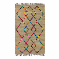 MYSORE TapisRug - 80% Jute/20% Cottn - motif geometrique - 140x200 cm