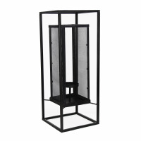 ZEN-Kandelaar-Ijzer-Glas-Zwart-23 x 23 x 60 cm