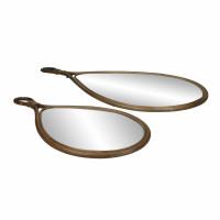 SAM - set/2 miroirs - rotin / verre miroir - L 28/37 x W 2 x H 55/74 cm - brun