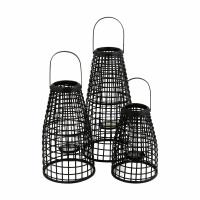 SKAGEN  - set/3 lanternes - bambou - DIA 27/30/33 x H 40/53/67 cm - noir