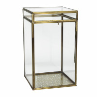 PIENZA - box - metal / glass - L 15 x W 15 x H 26 cm - brass
