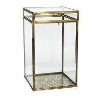 PIENZA - doos - metaal / glas - L 15 x W 15 x H 26 cm - brass