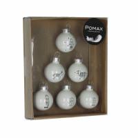 BETLEHEM - 6 boules de noël - verre - blanc - Ø3 cm