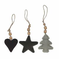 VIKINGS - set/3 christmas tree/heart/star - cotton - H 12 cm - green