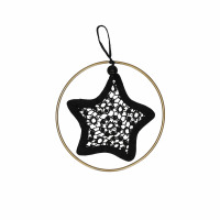 LACEY - star with golden ring - cotton - DIA 9,5 cm - black