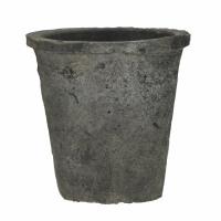 DAMOSIS - bloempot met mos - aardewerk - DIA 20 x H 18,5 cm - antraciet