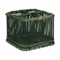 PRANA - panier à couverts - bambou - L 19 x W 19 x H 15 cm - noir