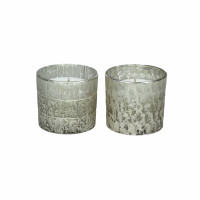 HONIVER - geurkaarsen - glas - DIA 6 x H 6 cm - zilver