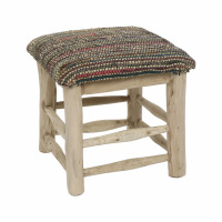 SPIKE - stool - jute / leather - L 40 x W 40 x H 40 cm - multicolor
