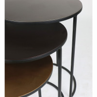 FINESSE - set/3 tables basses - fer / aluminium - DIA 36/41/45 x H 41/48/56 cm - mix de couleurs