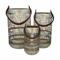 MADRAS - set/3 lantaarns - ijzer / leder - DIA 15/20/26 x H 27/38/42 cm - wit