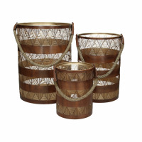 BALA - set/3 lanternes - fer / jute - DIA 15/20/26 x H 20/30/35 cm - rouille