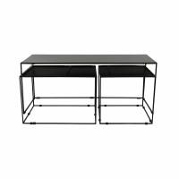 TRIEVO - set/3 salontafels  - metaal - L 115/60/43 x W 45/43/43 x H 47/41/41 cm - zwart