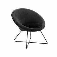 GARBO - fauteuil - velvet / métal - L 75 x W 67 x H 73 cm - noir
