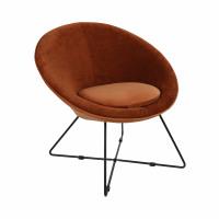 GARBO - relax chair - velvet / iron - L 75 x W 67 x H 73 cm - orange