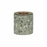 TERRAZZO - candle holder - terrazzo / metal - DIA 5 x H 5 cm - grey