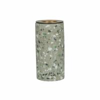TERRAZZO - candle holder - terrazzo / metal - DIA 5 x H 10 cm - grey