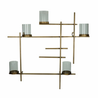 LINIA - wall deco with 5 candle holders - iron / glass - L 55 x W 8 x H 55 cm - gold