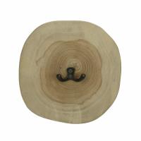 INSULA - wall hook - teak / metal - DIA 18 x H 2,5 cm - natural