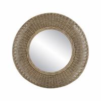 WICKAR - miroir - rotin / verre miroir - DIA 80 x H 9 cm