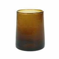 MIRA - water glas - glas - L 6,3 x W 6,3 x H 9 cm - amber
