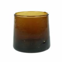 MIRA - water glass - glass - L 6,5 x W 6,5 x H 6,5 cm - amber