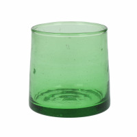 MIRA - water glass - glass - L 6,5 x W 6,5 x H 6,5 cm - green