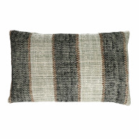 SHIKHA - coussin - rayures - lin / viscose - L 30 x W 50 cm - noir