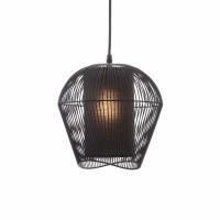 PALINE - hanglamp - metaal / MDF - DIA 26 x H 25 cm - zwart
