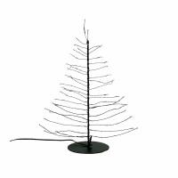 GLITTER - kerstboom 80 leds - transfo m/timer - metaal - DIA 10 x H 30 cm - zwart