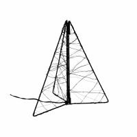 GLITTER - kerstboom leds - transfo m/timer - metaal - L 20 x W 20 x H 25 cm - zwart