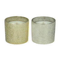 SPARKLE - set/2 scented candles - glass / wax - DIA 7 x H 6 cm - mix of colours