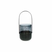 VIDRO - lantaarn - glas / metaal - DIA 9 x H 19 cm - donkerblauw