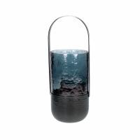 VIDRO - lantaarn - glas / metaal - DIA 11 x H 28 cm - donkerblauw