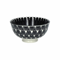 MUDRA - kom - porselein - DIA 12 x H 6 cm - zwart/wit