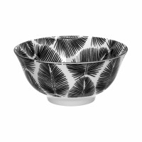 PALME - soep kom - porselein - DIA 15 x H 7 cm - zwart/wit